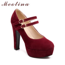 Meotina Shoes Women Mary Janes High Heels Platform Pumps Large Size 33 45 46 Sexy Party Buckle Strap Ladies Shoes Autumn Female
