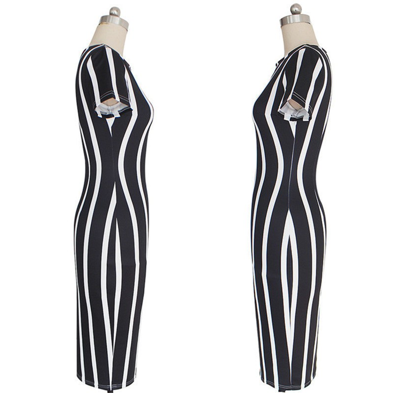 New Women Vertical Striped Fitness Bodycon Dresses Work Style Sexy Short Sleeve Sheath Office Midi Summer Dress Plus Size DWA23 (3)