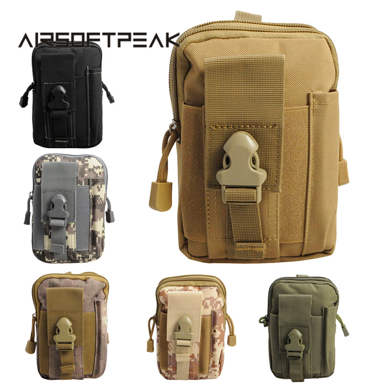 AIRSOFTPEAK Tactical Molle Pouch Belt Waist Bag Military Fanny Pack Outdoor Pouches Phone Case Pocket For Iphone 7 Hunting Bags airsoftpeak military molle waist bag tactical edc pouches outdoor belt utility pouch tool zipper waist pack hunting bags