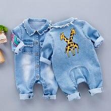 723f4313667 Primavera bebé niño manga larga de cuello de solapa Denim Vaqueros jirafa  Arco Iris patrón Mamelucos Infante Monos roupas de beb.