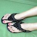 Богемия сандалии бисером горный хрусталь сандалии женский плоским пятки флип-флоп