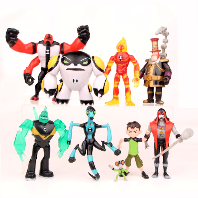 Ben 10 Ben Tennyson Four Arms Grey Matter Kineceleran Diamondhead Heatblast Ben10 PVC Action Figures Kids Toys Gifts 9pcs/set
