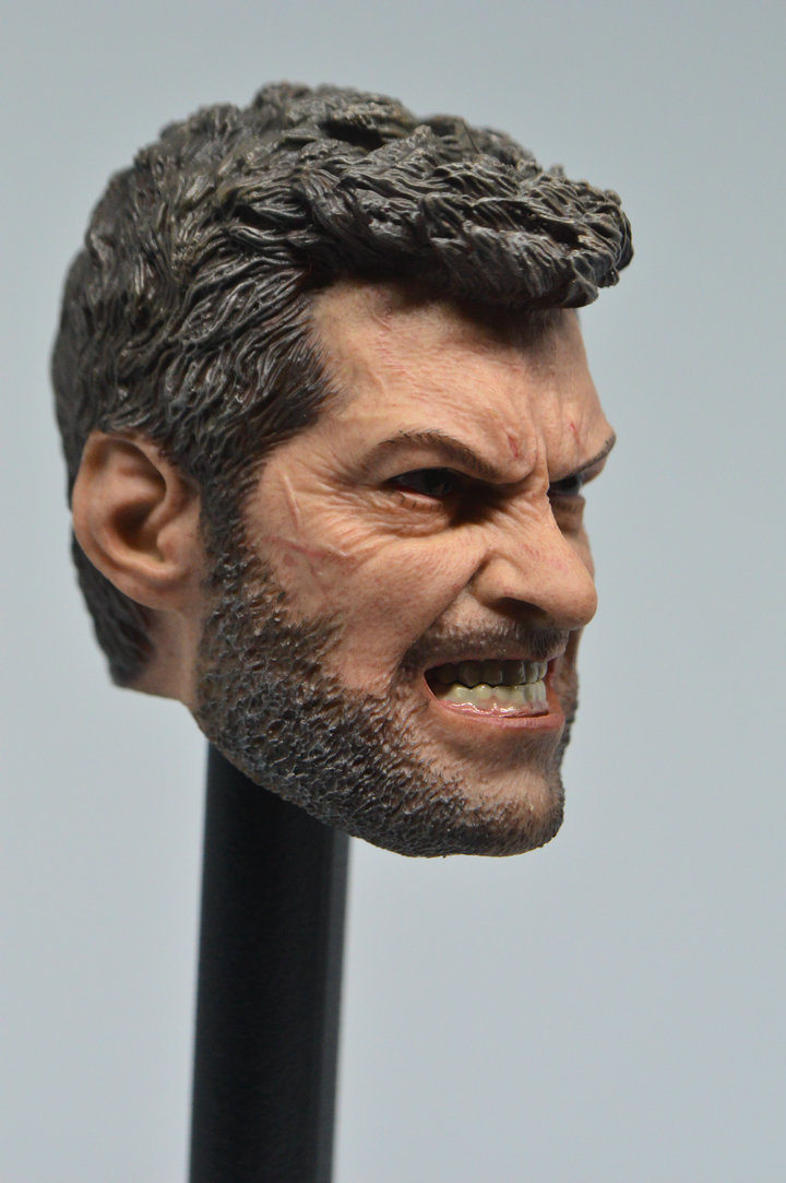 """ELEVEN 1//6 Wolverine Head Sculpt ANGRY LOGAN For 12/"""" Hot Toys Male Figure USA"""