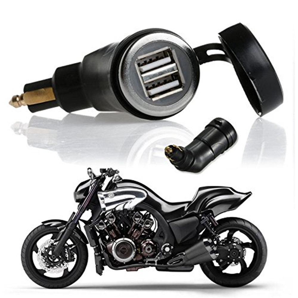 Motorcycle Parts <font><b>Charger</b></font> Plug DIN Socket Angled Dual Car <font><b>USB</b></font> <font><b>Charger</b></font> Adaptor for For <font><b>BMW</b></font> Power Let Phone / iPhone image