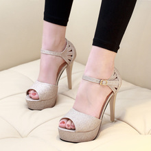 Women Pumps Peep Toe Thin High Heel Shoes Office Lady Work Shoes Gold Sliver Big Size Gladiator Party Sandals CH-B0091 цены онлайн