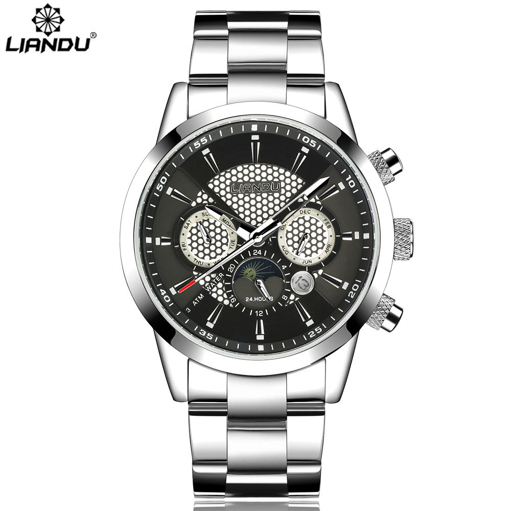 LIANDU Brand New Men Watches Stainless Steel Business Watch Calendar 3 Sub Dial Watch Quartz Wristwatches Relogio Masculino in Quartz Watches from Watches