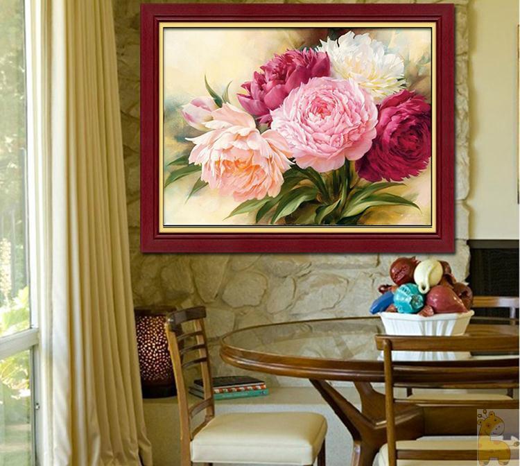 Flores de peonía Diamante redondo Diy 5D pintura diamante kits de - Artes, artesanía y costura - foto 3