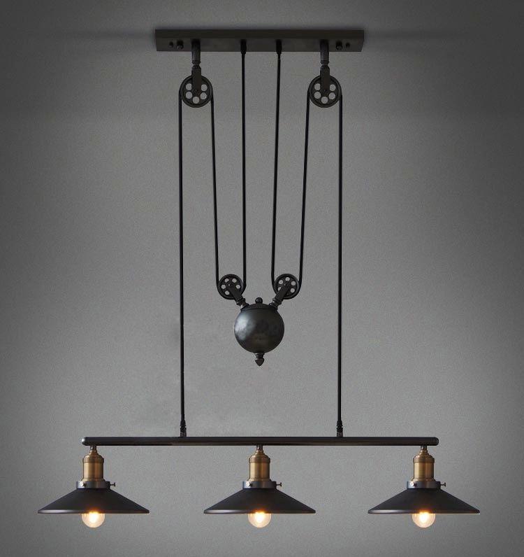 3 lumière E27 Edison ampoules Loft vintage poulie suspension lampe lustre pour salle à manger antique Style industriel lumières 110 V-220 V