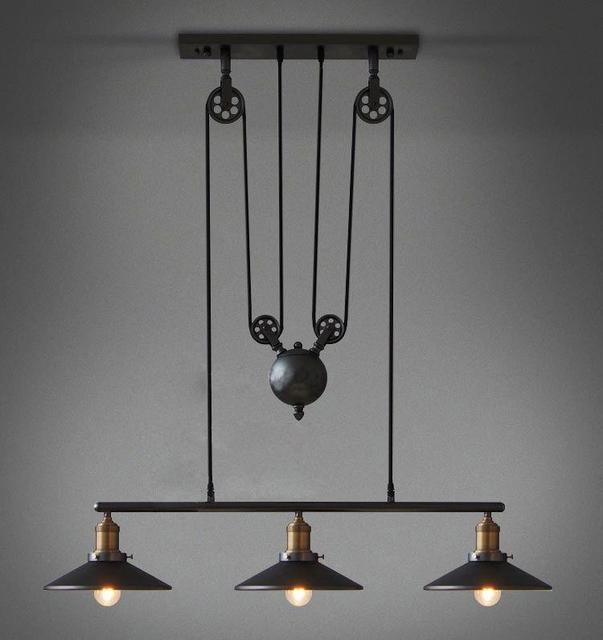 3 lumi¨re E27 Edison ampoules Loft vintage poulie pendentif lampe