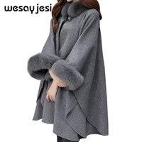 Winter Coat Women Cardigan Poncho And Capes womens knitwear Women manteau femme Cloak Long sleeve womens sweaters 2018 winter