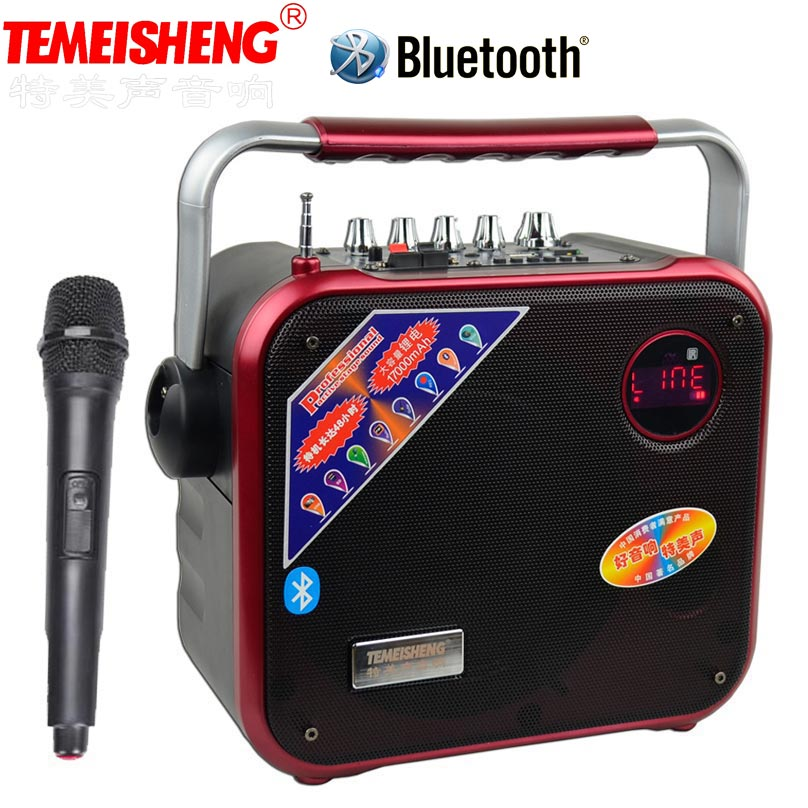 TEMEISHENG High Power Portable Loudspeaker Bluetooth Speaker Support Wirelss Microphone Outdoor audio speaker MP3 font b