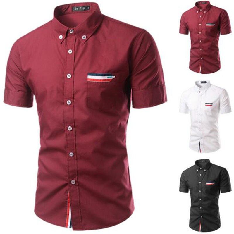 Drehen-unten Kragen Baumwolle Einreiher Formale Shirts Arbeit Business Camisa Unparteiisch Männer Sommer Heißer Verkauf Kurzarm Kleid Shirts Camisa Hemden Hemden