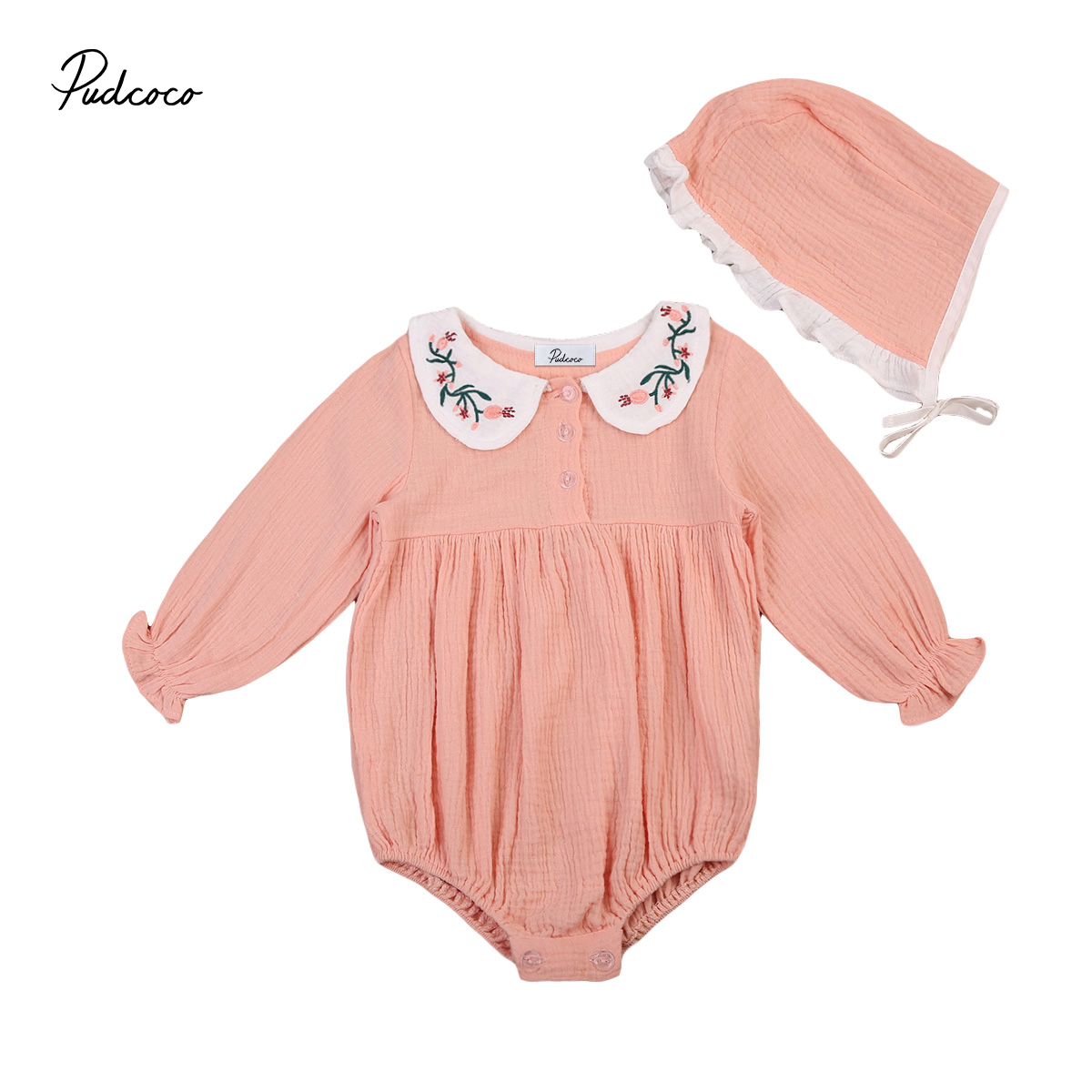 Lovely Newborn Baby Girls Doll Collar Romper+Sun Hat Clothes Outfits Set 0-3Y 2pcs set newborn floral baby girl clothes 2017 summer sleeveless cotton ruffles romper baby bodysuit headband outfits sunsuit