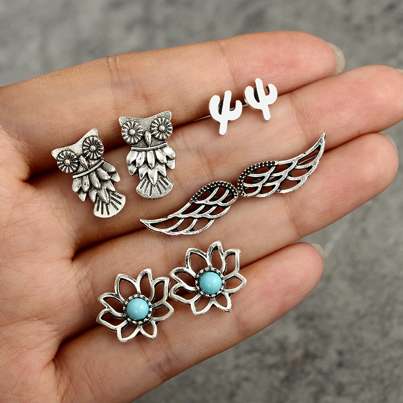 docona Vintage Silver Color Flower Own Wing Cactus Stud Earrings Set for Women Bohemian Geometric Studs Earring Brincos 3298