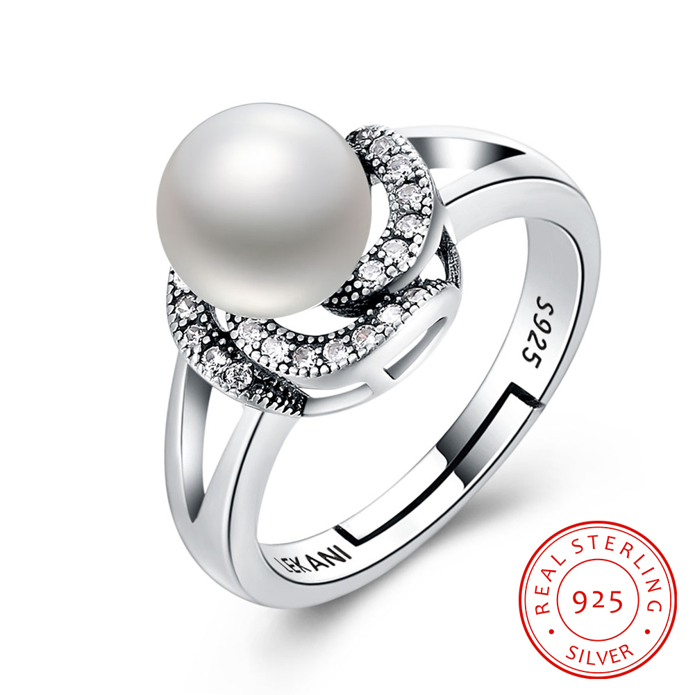 Jewelry Simulated-Pearl-Rings Adjustable 925-Sterling-Silver Cubic-Zirconia Fashion Women