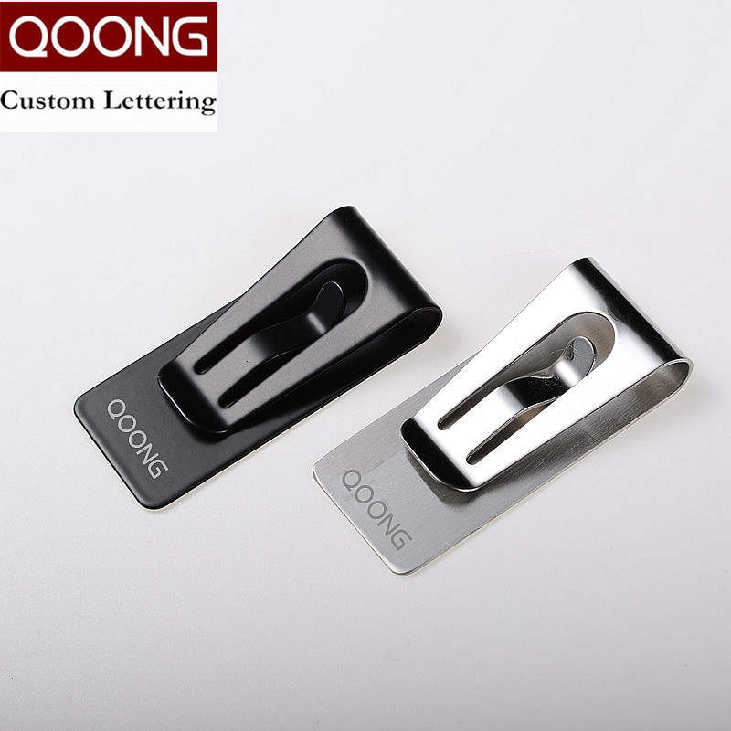 QOONG Custom Lettering Black Silver Slim Pocket Men Women Money Clip Business Card Credit Card Cash Wallet QZ40-004