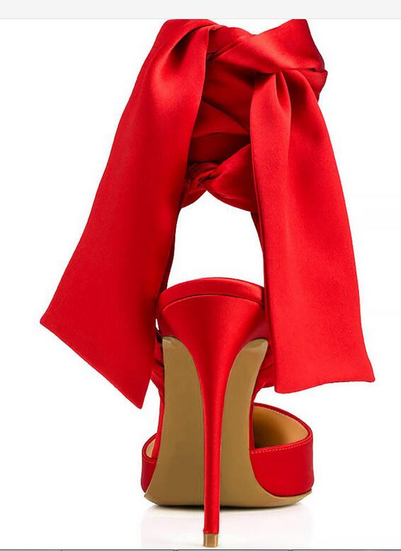 Alto Tacón Fino Correas Solo 2018 Carpaton Zapatos rojo Satén Cena Tobillo Negro Negro Del Pie Sexy Rojo Punta Dedo qPwqHzv