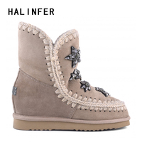 HALINFER eskimo wedge tall 29cm winter women snow boots high quality sheepskin Girl's ankle boots zapatos mujer