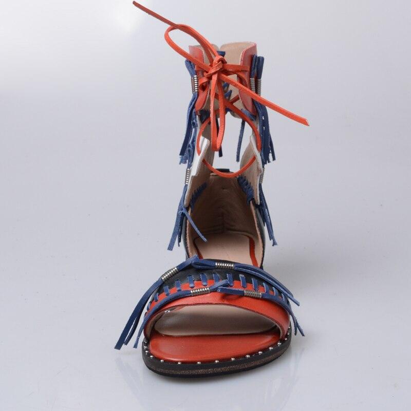 Leder Echte Schuhe Design Mischfarbe Blau Sandalen Wohnungen Frauen Frau Strand Gewebt Alias Stilettos rot Gladiator Sommer Damen wqv8IWcXW