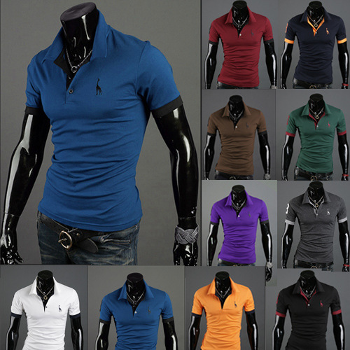 Men's Polo Multi-Color Deer High Quality Cotton Polo Shirt Men's Short Sleeve Slim Business Casual Solid Fit Tops 10