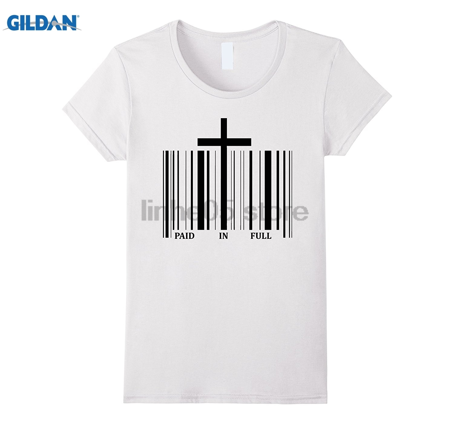 GILDAN UPC bar code Christian cross shirt - PAID IN FULL Womens T-shirt ...