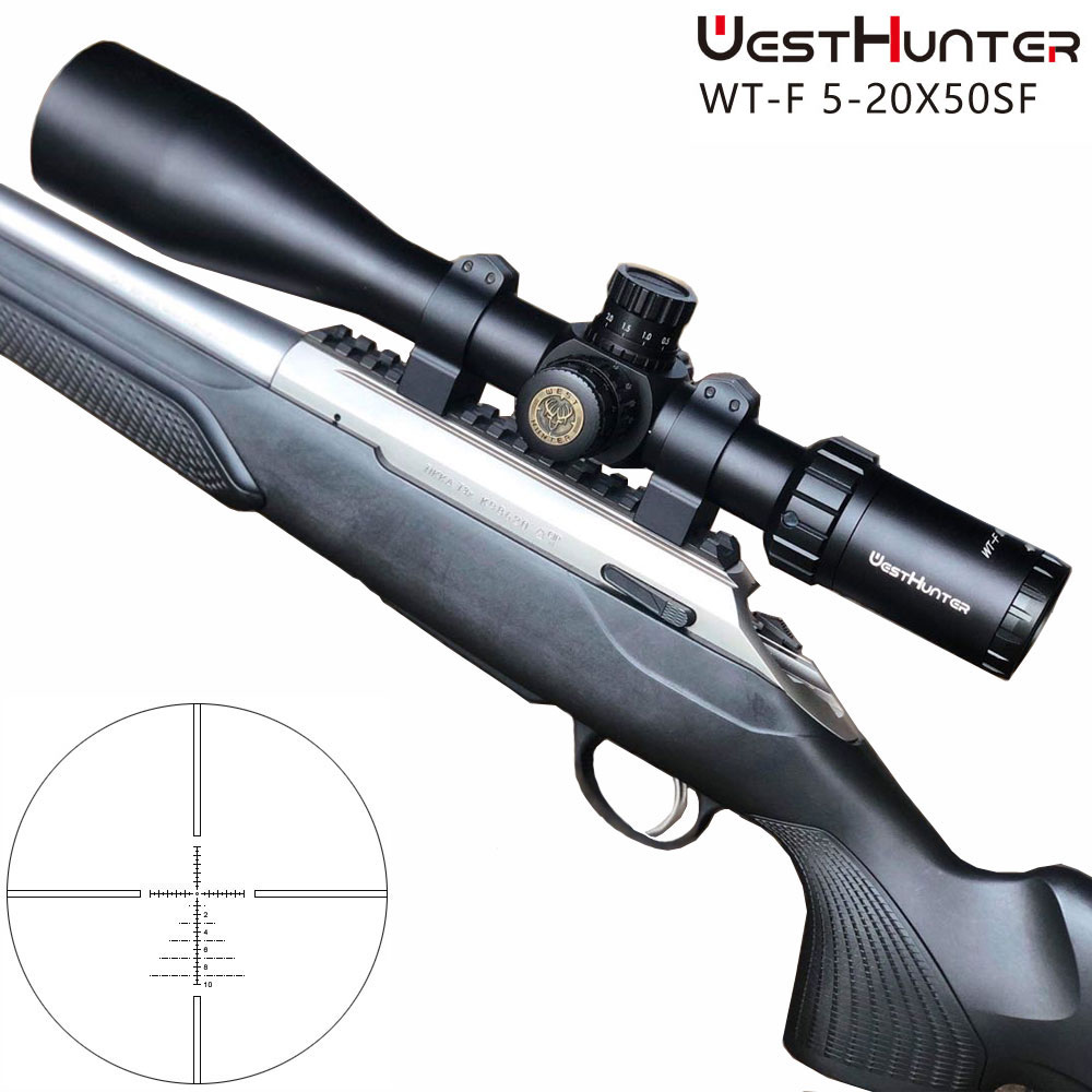WESTHUNTER WT F 5 20X50SFIR Riflescopes Hunting Scope Red Illuminated Shockproof 1 10MIL Rifle Scope Fit AR15 233 308 in Riflescopes from Sports Entertainment