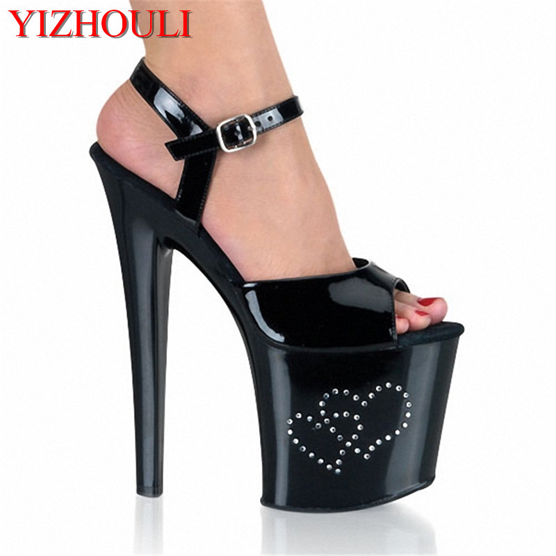 20cm The new set auger ultra-high heart with runway looks sandal high heels steel tube of the lacquer that bake 15cm fashion show thin high heels super high heels of the lacquer that bake the bride shoes sandals girl with high performance
