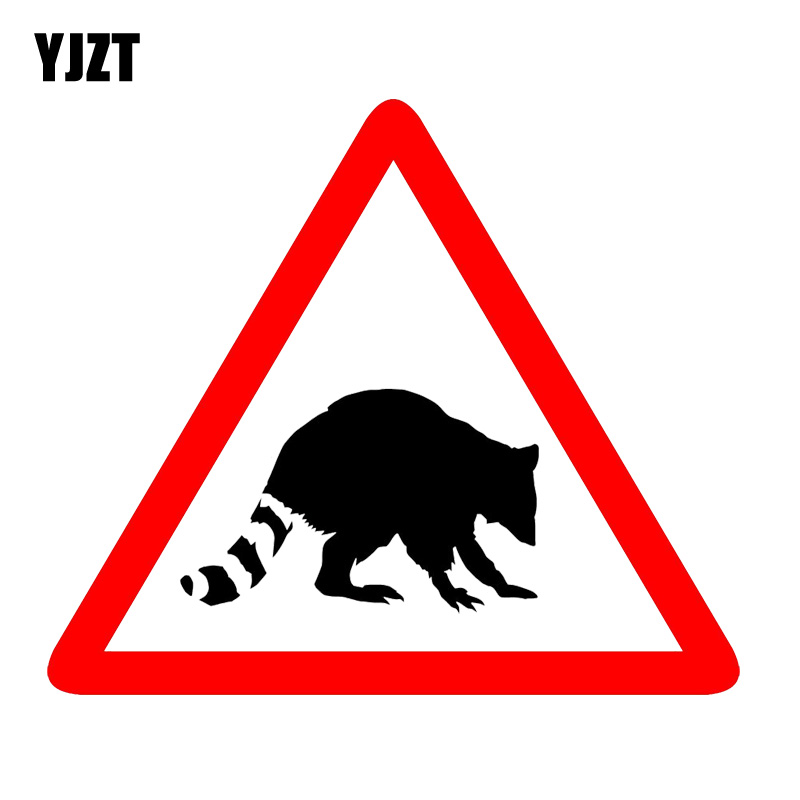 YJZT 13CM*11.1CM Warning Car Sticker Raccoon PVC Animal Decal 12-1289