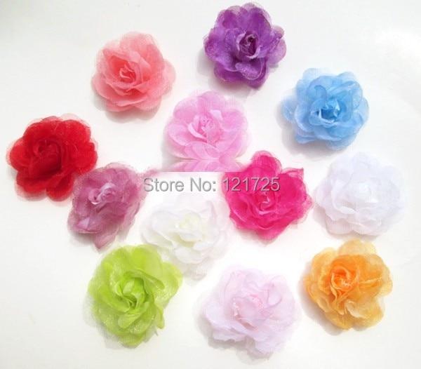 3.5CM Chiffon artificial Flowers 30pcs/lot Yarn Flower diy rose Flower Head for hair decoration