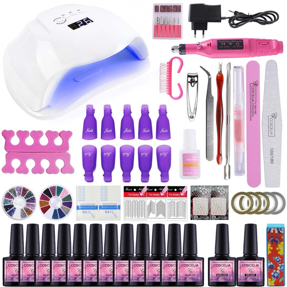 Manicure Art Set Nail Gel Polish Kit For Manicure Gel Varnish Nail Art Sets 54W UV Lamp Nail Dryer Tools For Manicure Tools kit