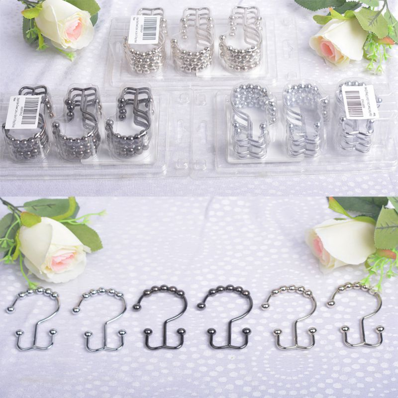 Home & Garden Diligent 12 Pcs /set Stainless Steel Hook Bathroom Decorative Rustproof Metal Double Glide Shower Curtain Hooks And Rings