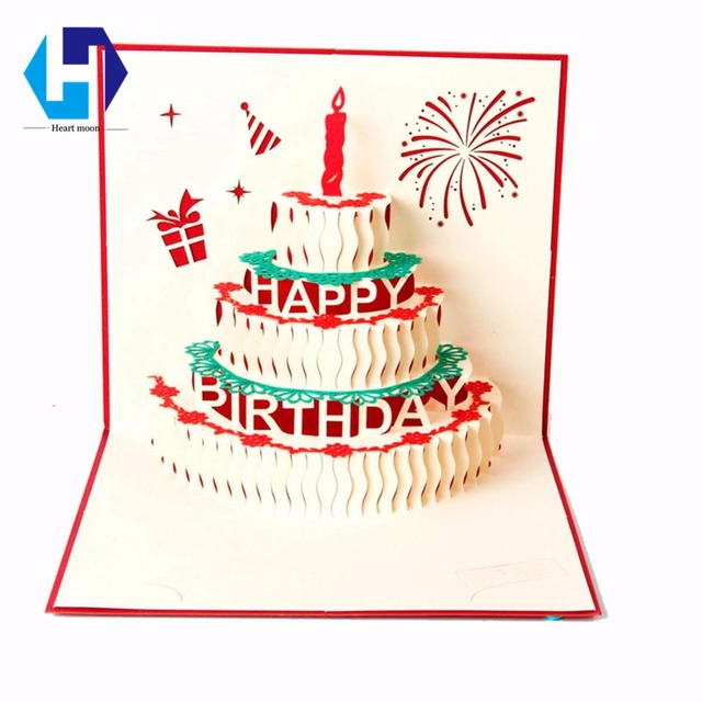 3d Pop Up Birthday Cake Greeting Card Laser Cutting Red And Gold