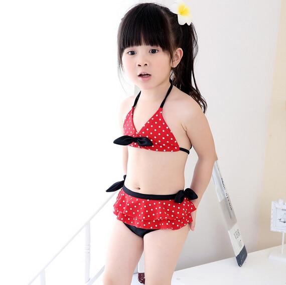 2015 Brand New Hot Sale Child Bikini Swimwear Cute Minnie