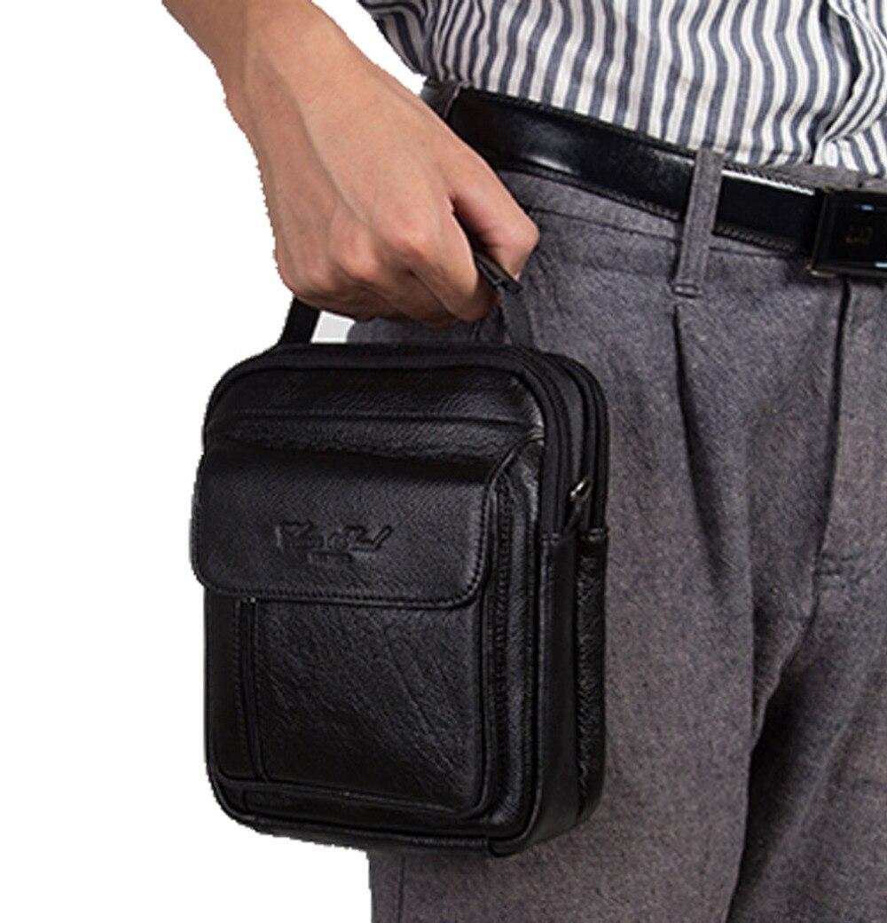 New Fashion Men Genuine Leather High Quality Handbag Business Messenger Single Shoulder Bag Cigarette Case Phone Bags