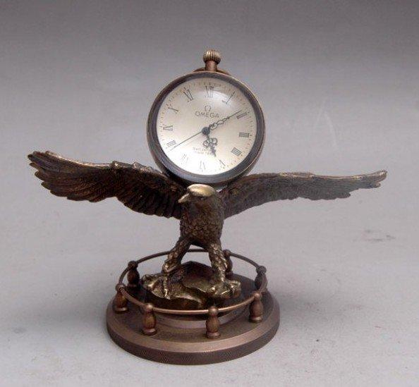 Vzácné staré měděné mechanické hodiny, mohou pracovat, řezbářství, jestřáb, nejlepší kolekce a ozdoba, doprava zdarma