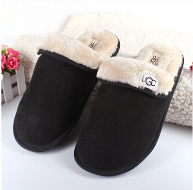 Quality goods contracted pure color leather soft velvet fabrics is comfortable couple slippers,ug men with thick cotton slippers