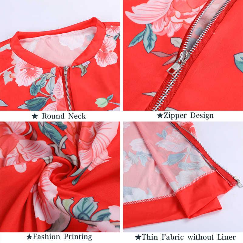 Kobiety kwiatowy Print kurtka Bomber kobiety na co dzień na zamek błyskawiczny Up Retro płaszcz 2019 z długim rękawem podstawowe Plus rozmiar krótki Biker kurtki kobiet