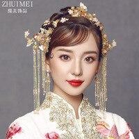 Bride Antique Headwear chinese wedding hair decoration simple dragon phoenix crown Wedding hair Jewelry Wholesale
