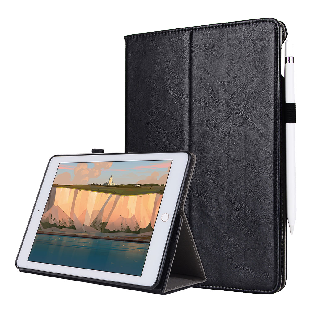 Leather + PU Case For Ipad 9.7 2017 Pro 9.7 Air 1 2 Folding Stand +Hand Strap +Pencil Holder +Card Smart Cover