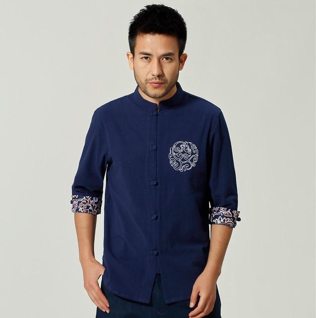 Navy Lino Quarti Cotone Casuale Cinese Blu E Uomo In Tai Tre Camicia TqfwdF