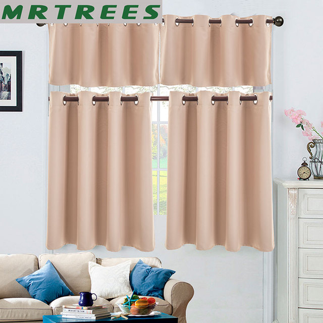 MRTREES Kitchen Short Curtains Roman Blinds Solid Sheer Panel Gray Tulle Window Treatment Home Decor