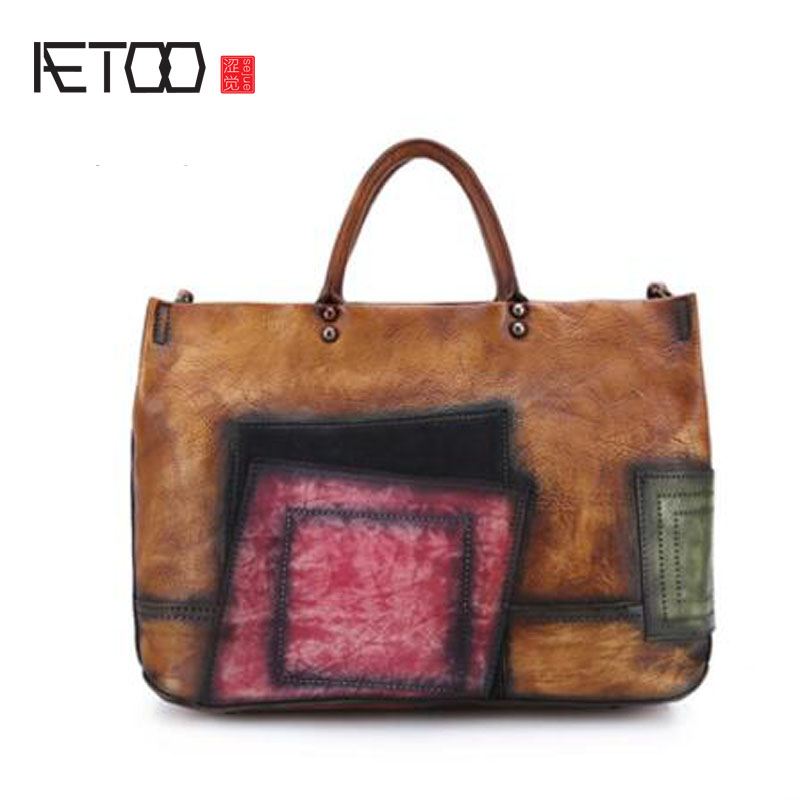 AETOO Handbags women's leather retro ladies leather diagonal cross-hit color handbags casual fashion bag new etersto2018 new casual fashion stitching hit color handbags new fashion handbags parker women s party wallets ms messenger bag