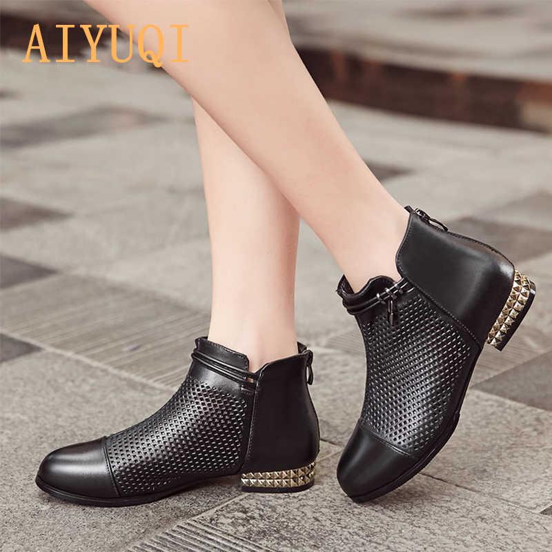 AIYUQI moda hakiki deri kadın çizmeler ayak bileği motosiklet botları katı içi boş vamp alçak topuklu rahat yaz kadın ayakkabı