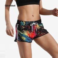 Qickitout новые летние шорты женские повседневные шорты тренировка пояс обтягивающие свободные короткие с цифровой печатью Вселенная космичес...