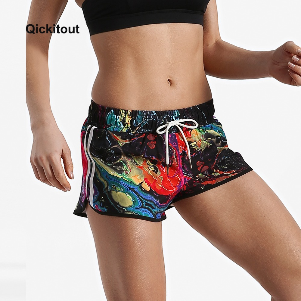 Qickitout New Summer Shorts Women Casual Shorts Workout Waistband Skinny Loose Short Digital Printed universe Space cloth XS-XL