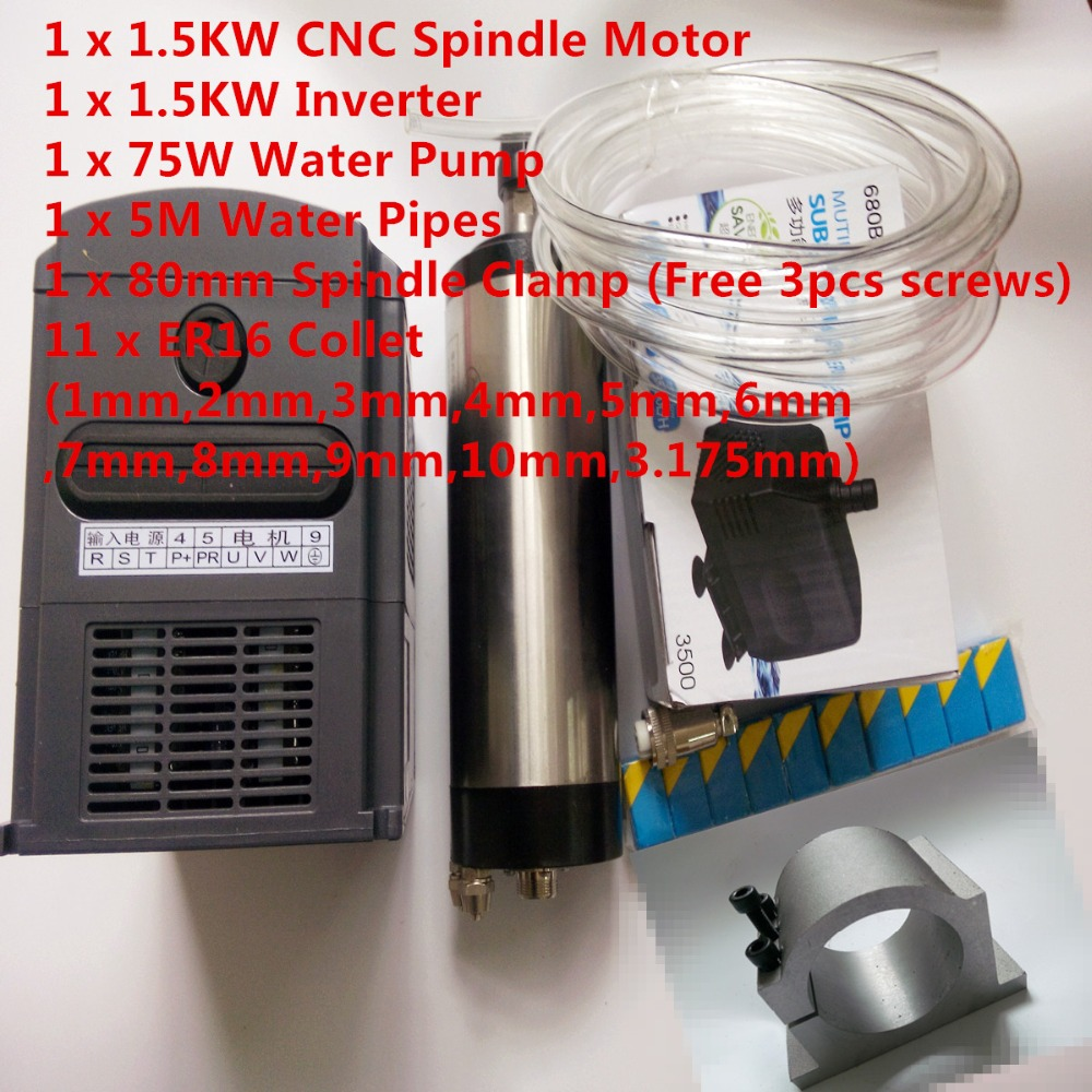 CNC Spindle Kit 1.5KW Water Cooling Spindle Motor + 220V Inverter + ER16(1-10mm) + 80mm Clamp + 3.5m Water Pump + Pipe water cooling spindle sets 1pcs 0 8kw er11 220v spindle motor and matching 800w inverter inverter and 65mmmount bracket clamp