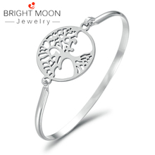 Bright Moon 2019 Vintage Silver Color Charm Bracelet with Tree of Life Stainless Steel Bracelets Bangles Jewelry Gift