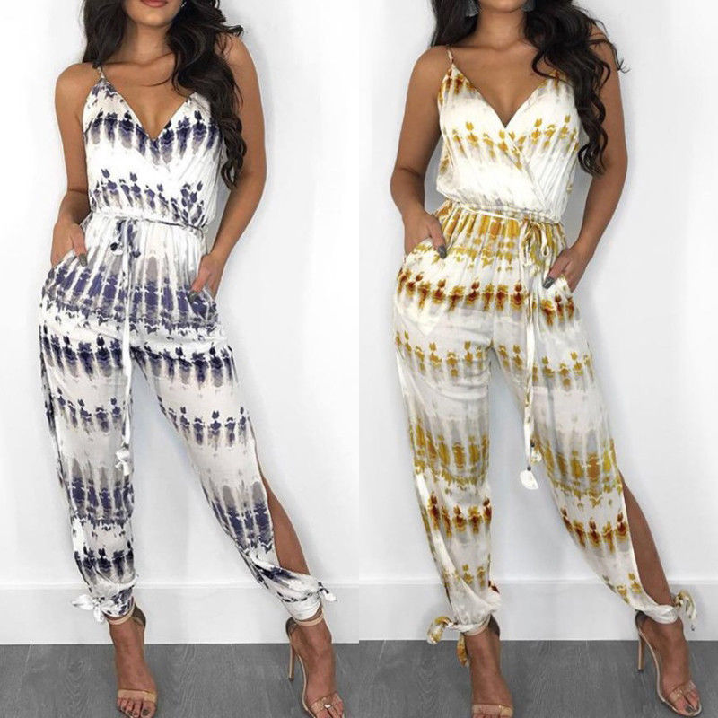 Summer Hot Sale Women Ladies Sleeveless V-Neck Two Colors Print High Quality Party Fashion Style Jumpsuit Size S-XL