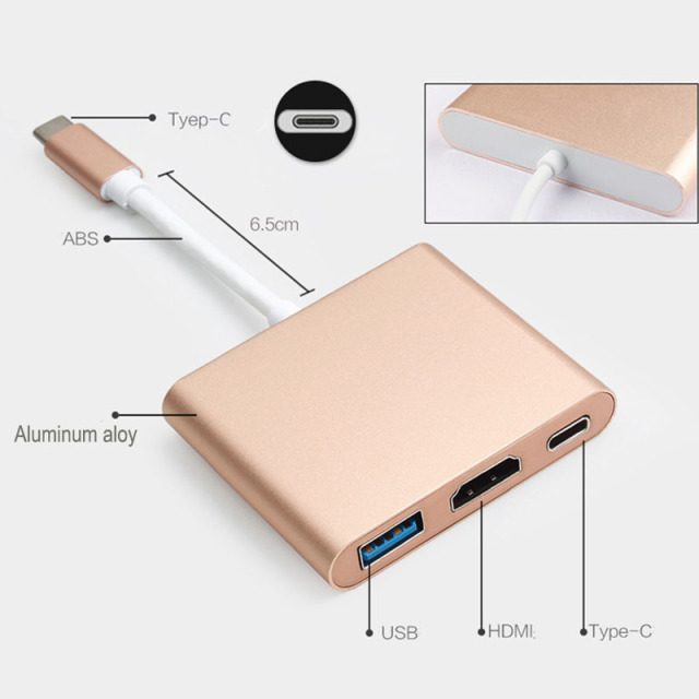 Baolyda USB C Dock HDMI Type C to HDMI Hub Adapter 4K USB C Multiport Adapter USB C Converter for MacBook/Chromebook Pixel/Dell 1