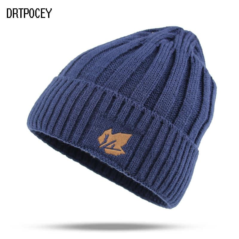 Fashion Men Hat Thick Warm   Skullies     Beanies   Knitted Hat Winter Hats For Women Plain Warm Gorros Bonnet Caps Thicken Solid   Beanie